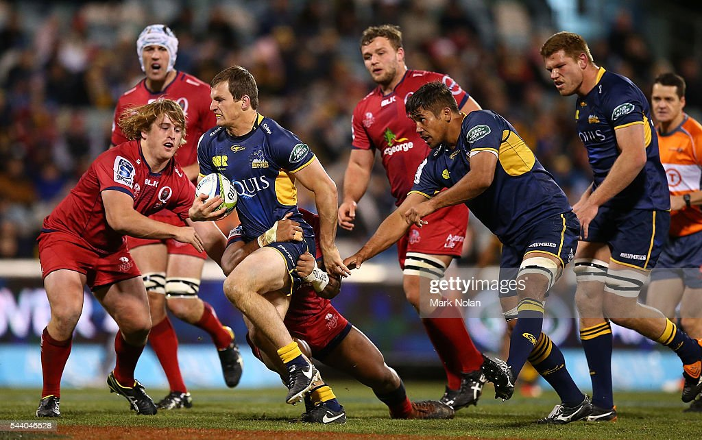 James Dargaville of the Brumbies in action during the round 15 Super Rugby match between the Brumbies and the Reds at GIO Stadium on July 1, 2016 in Canberra, Australia.
