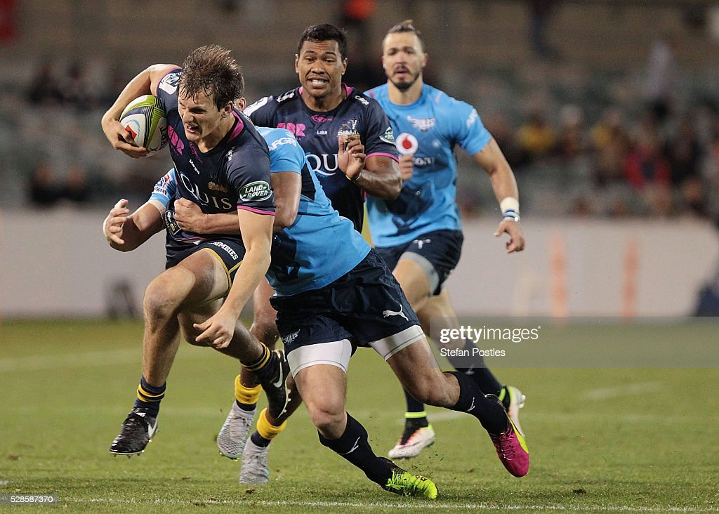 James Dargaville of the Brumbies is tackled during the round 11 Super Rugby match between the Brumbies and the Bulls at GIO Stadium on May 6, 2016 in Canberra, Australia.