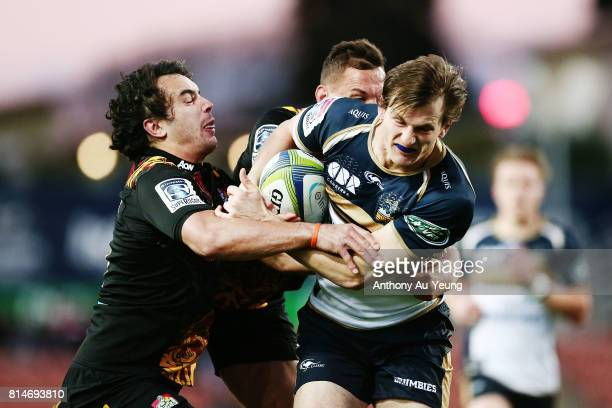 James Dargaville of the Brumbies on the charge against James Lowe of the Chiefs during the round 17 Super Rugby match between the Chiefs and the...