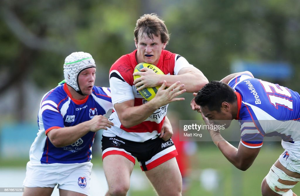 James Dargaville of the Vikings is tackled during the round nine NRC match between the Rams and Canberra at TG Milner Oval on October 29, 2017 in Sydney, Australia.