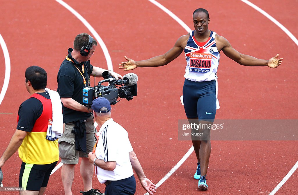 James Dasaolu celebrates a PB in the 100m semi final during day two of the Sainsbury's British Championships, British Athletics World Trials and UK & England Championships at Alexander Palace on July 13, 2013 in Birmingham, England.