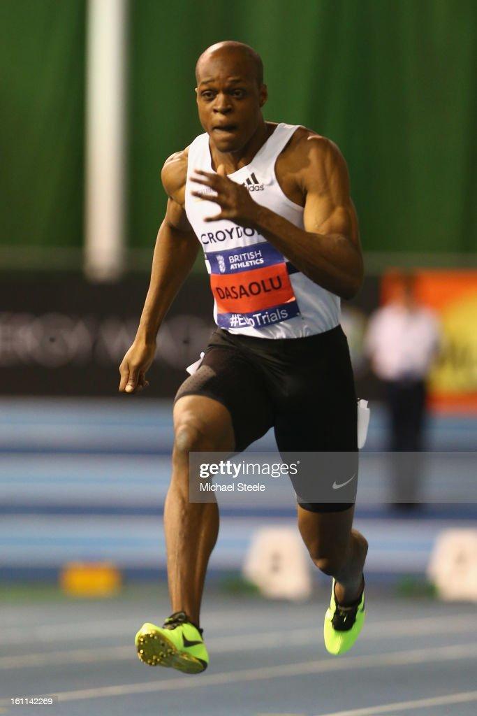 <a gi-track='captionPersonalityLinkClicked' href=/galleries/search?phrase=James+Dasaolu&family=editorial&specificpeople=7118567 ng-click='$event.stopPropagation()'>James Dasaolu</a> in the men's 60m heats during day one of the British Athletics European Trials & UK Championship at the English Institute of Sport on February 9, 2013 in Sheffield, England.