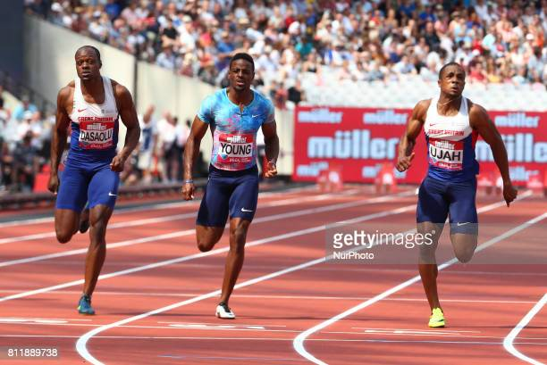 LR James Dasaolu Isiah Young and Chijindu Ujah in the Men's 100m during Muller Anniversary Games at London Stadium in London on July 09 2017