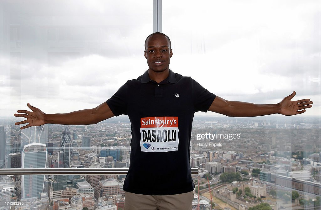 James Dasaolu of Great Britain poses for a photograph during a photocall for the Sainsbury's Anniversary Games - IAAF Diamond League 2013 at the Shard on July 25, 2013 in London, England.