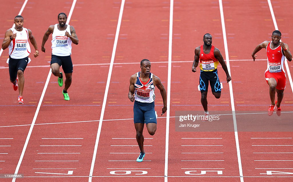 <a gi-track='captionPersonalityLinkClicked' href=/galleries/search?phrase=James+Dasaolu&family=editorial&specificpeople=7118567 ng-click='$event.stopPropagation()'>James Dasaolu</a> (3rdR) runs a personal best in his 100m semi final during day two of the Sainsbury's British Championships, British Athletics World Trials and UK & England Championships at Alexander Palace on July 13, 2013 in Birmingham, England.
