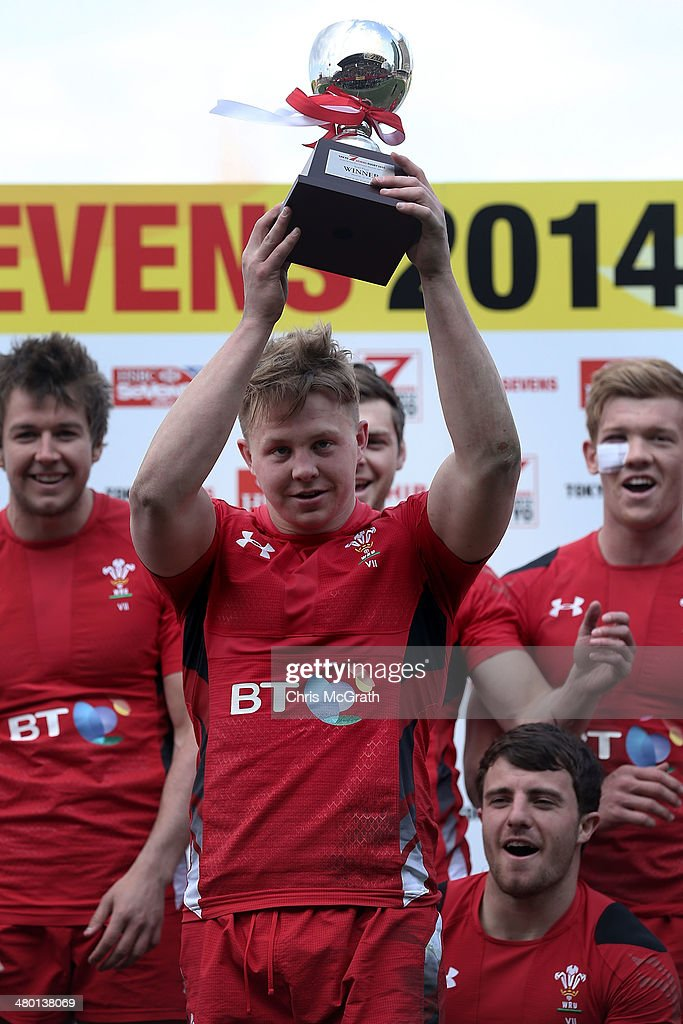 James Davies #6 of Wales holds aloft the trophy after defeating Scotland to win the Bowl Final during the Tokyo Sevens, in the six round of the HSBC Sevens World Series at the Prince Chichibu Memorial Ground on March 23, 2014 in Tokyo, Japan.