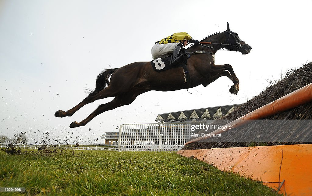 <a gi-track='captionPersonalityLinkClicked' href=/galleries/search?phrase=James+Davies&family=editorial&specificpeople=224593 ng-click='$event.stopPropagation()'>James Davies</a> riding Escort'Men clear a fence in The BMW Ascot Novices' Handicap Steeple Chase at Ascot racecourse on April 07, 2013 in Ascot, England.