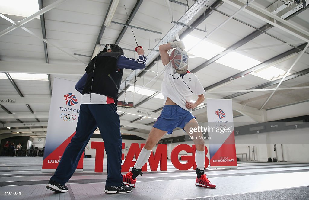 James Davis spars with Ziemek Wojciechowski of the British Olympic Fencing Team during the announcement of Fencing Athletes Named in Team GB for the Rio 2016 Olympic Games at British Fencing's Elite Training Centre on May 5, 2016 in London, England.