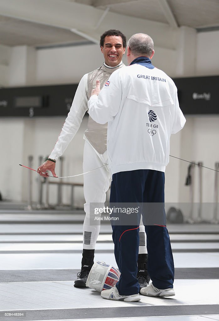 James Davis (left) talks to British Fencing head coach Andrey Klyushin during the announcement of Fencing Athletes Named in Team GB for the Rio 2016 Olympic Games at British Fencing's Elite Training Centre on May 5, 2016 in London, England.