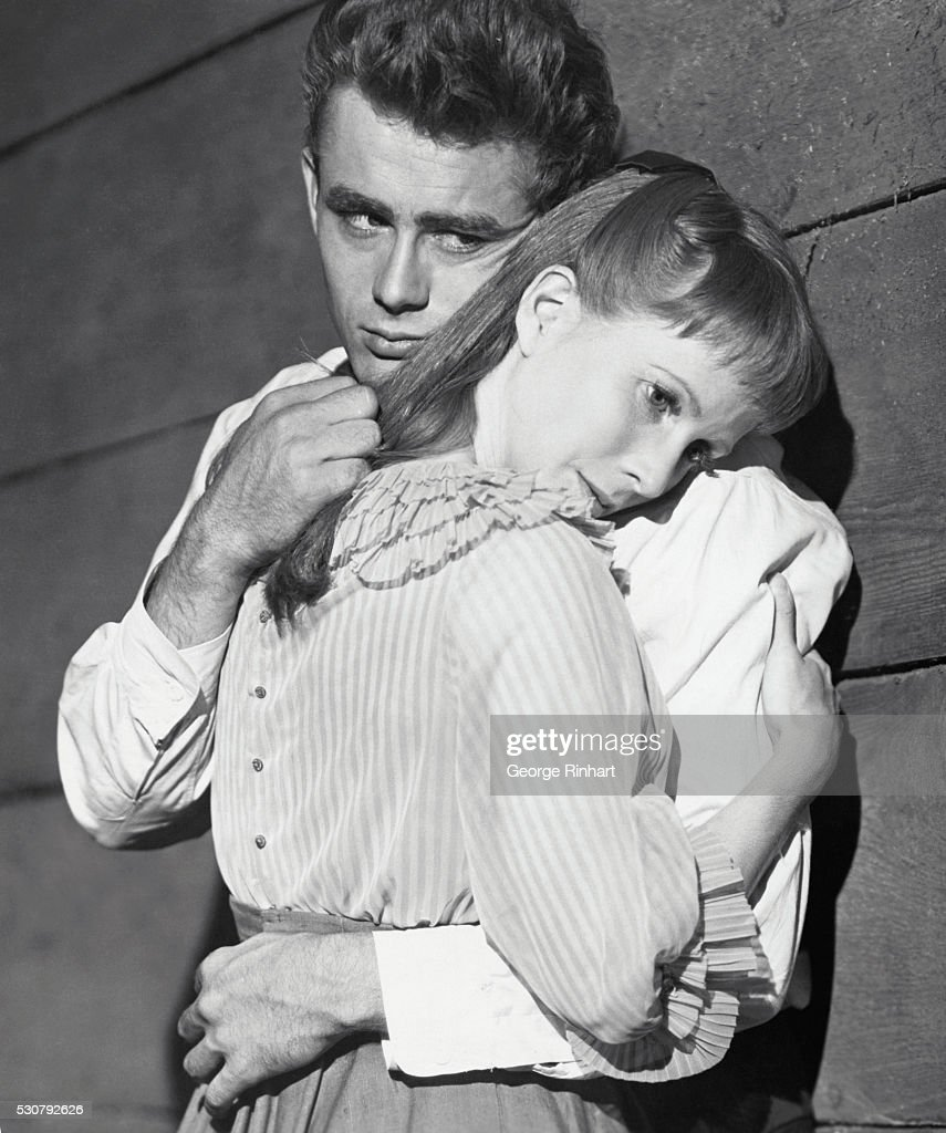 James Dean as the brother who takes his brother's sweetheart (<a gi-track='captionPersonalityLinkClicked' href=/galleries/search?phrase=Julie+Harris+-+Actress&family=editorial&specificpeople=14645339 ng-click='$event.stopPropagation()'>Julie Harris</a>) in film version of John Steinbeck's powerful story East of Eden, directed by Elia Kazan for Warner Brothers in 1955.