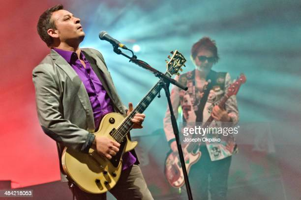 James Dean Bradfield and Nicky Wire of Manic Street Preachers performs on stage at Brixton Academy on April 11 2014 in London United Kingdom