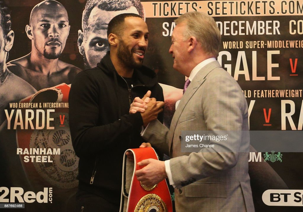 James DeGale and Frank Warren shake hands during a Boxing Press Conference at The Landmark London on December 7, 2017 in London, England.