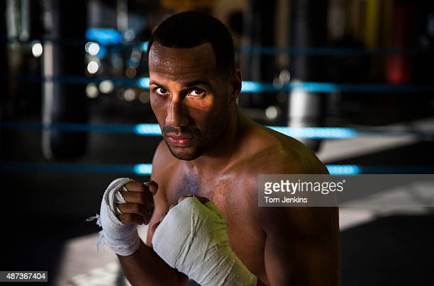 James DeGale English supermiddleweight boxer and ex Olympic champion poses for a portrait at the Stonebridge Boxing Club in Harlesden on February...