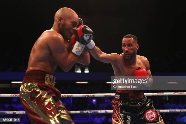 James DeGale in action as he loses to Caleb Truax in the IBF World SuperMiddleweight Championship fight at Copper Box Arena on December 9 2017 in...