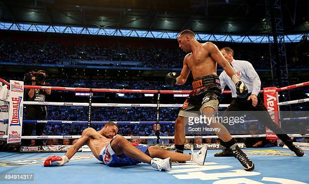 James Degale in action with Brandon Gonzalez during their IBF World Super Middleweight Final Eliminator bout at Wembley Stadium on May 31 2014 in...