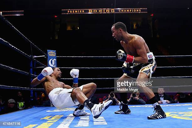 James DeGale knocks down Andre Dirrell during their super middleweight fight at Agganis Arena at Boston University on May 23 2015 in Boston...
