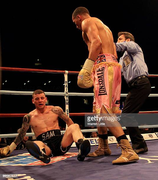James Degale knocks out Sam Horton win the WBA International Super Middleweight Championship at Boleyn Ground on May 15 2010 in London England