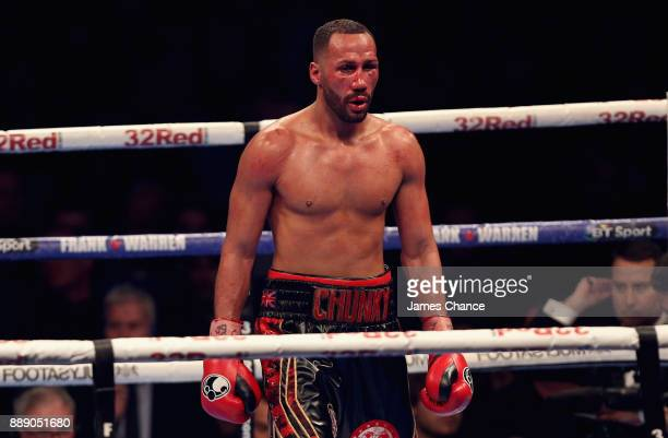James DeGale looks dejected after losing his IBF World Super Middleweight Title fight to Caleb Truax at Copper Box Arena on December 9 2017 in London...