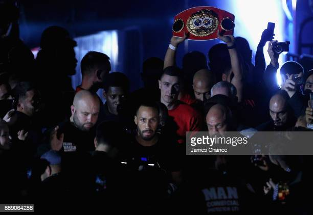 James DeGale makes his way to the ring prior to losing his IBF World Super Middleweight Title fight to Caleb Truax at Copper Box Arena on December 9...