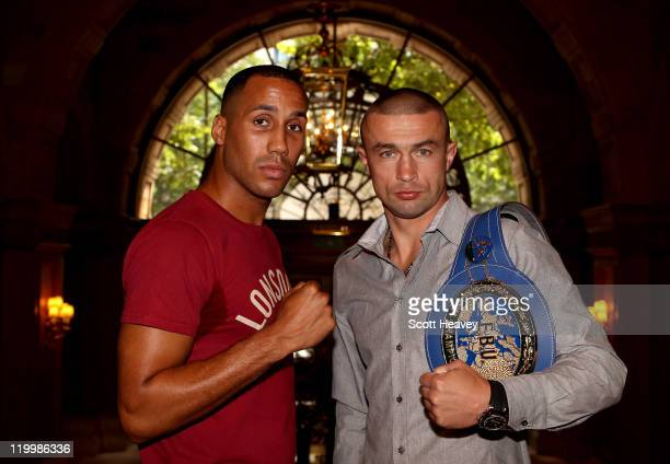 James DeGale of England and Piotr Wilczewski of Poland attend a press conference to preview their SuperMiddleweight Championship of Europe at the...