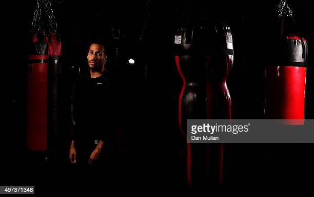 James DeGale of England poses for a portrait following a workout ahead of his IBF World Super Middleweight title defence against Lucian Bute at the...