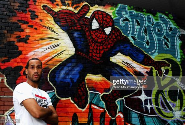 James DeGale poses near a spiderman mural during the James DeGale and George Groves Press Conference held at Dale Youth Boxing Club in Granfell Tower...
