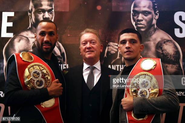 James DeGale Promoter Frank Warren and Lee Selby pose for a photo during a press conference at The Landmark Hotel on October 30 2017 in London England