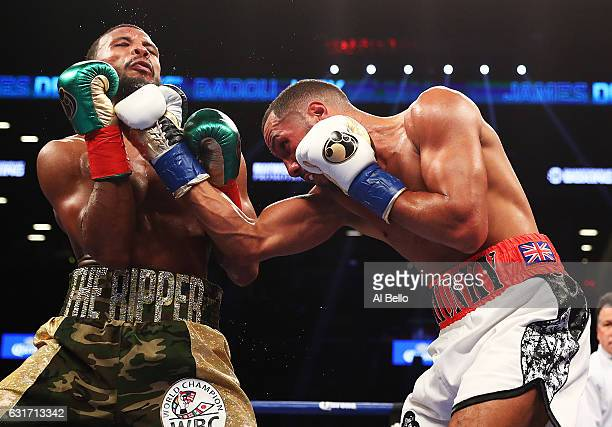 James DeGale punches Badou Jack during their WBC/IBF Super Middleweight Unification bout at the Barclays Center on January 14 2017 in New York City