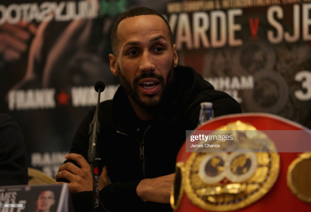 James DeGale speaks in a press conference during a Boxing Press Conference at The Landmark London on December 7, 2017 in London, England.
