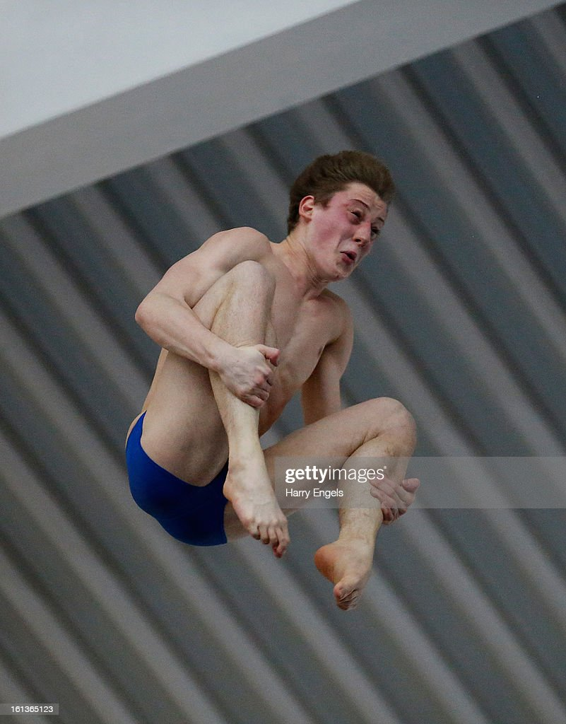 James Denny dives during the Men's 10m final on day three of the British Gas Diving Championships on February 10, 2013 in Plymouth, England.