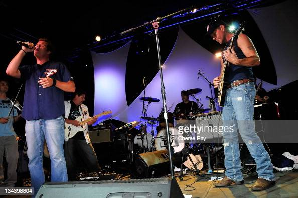 James Denton and Bob Guiney perform at the 2nd Annual Band From TV Night at the Flyers Baseball Game in Fullerton on July 26 2008 California