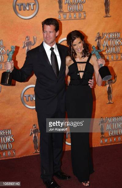 James Denton and Teri Hatcher during 2005 Screen Actors Guild Awards Press Room at The Shrine in Los Angeles California United States