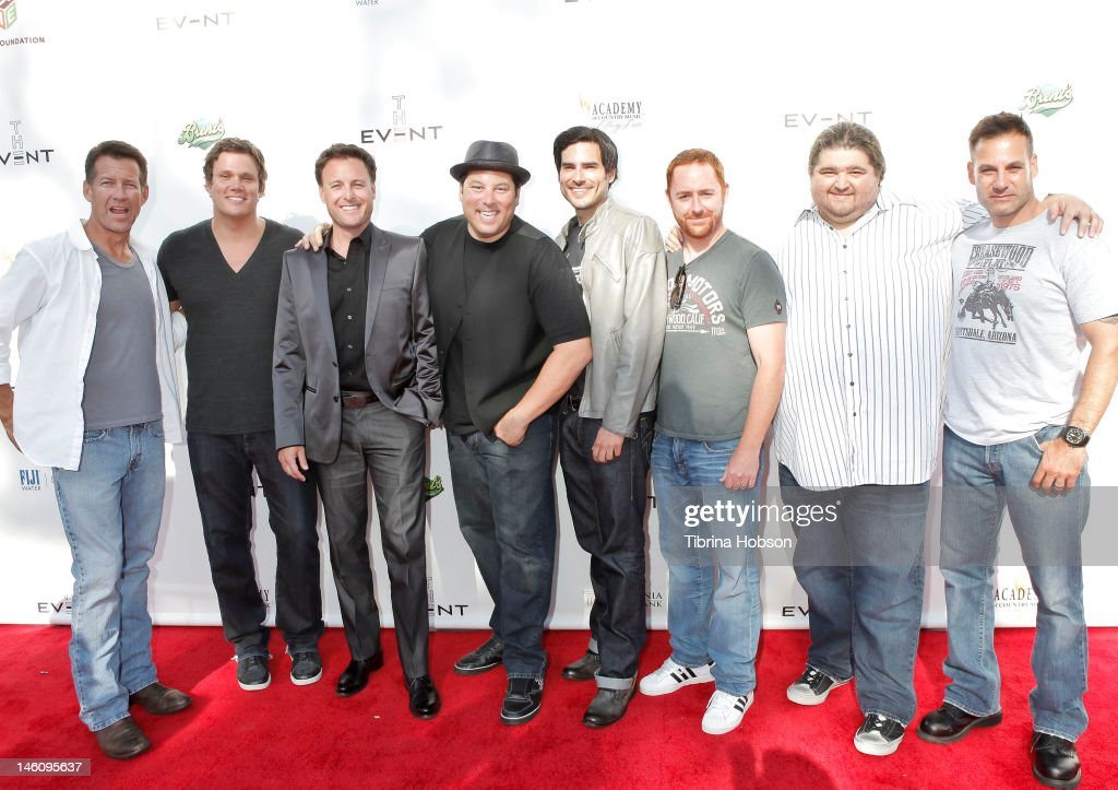 James Denton, Bob Guiney, Chris Harrison, Greg Grunberg, Scott Grimes, Eddie Matos, Jorge Garcia and Adrian Pasdar attends 1st annual T.H.E. event hosted by Chris Harrison and The Band From TV at Calabasas Tennis and Swim Center on June 9, 2012 in Calabasas, California.