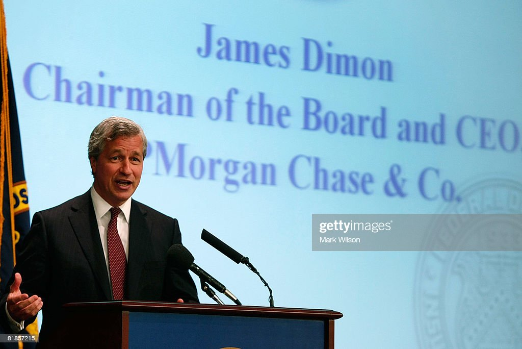 James Dimon, CEO and Chairman of the Board of JPMorgan Chase & Co, speaks at the Federal Deposit Insurance Corporation July 8, 2008 in Arlington, Virginia. Dimon was speaking to a forum on mortgage lending for low and moderate income households.