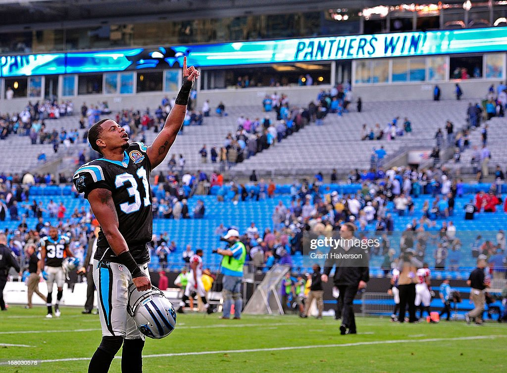 James Dockery #31 of the Carolina Panthers points to the fan after a win over the Atlanta Falcons at Bank of America Stadium on December 9, 2012 in Charlotte, North Carolina. Carolina defeated Atlanta, 30-20.