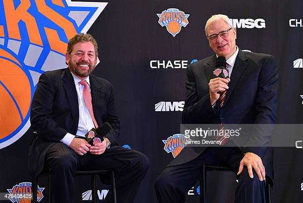 James Dolan and Phil Jackson attend New York Knicks press conference announcing Phil Jackson as team President at Madison Square Garden on March 18...