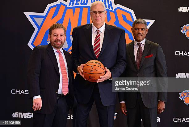 James Dolan Phil Jackson and Steve Mills attend New York Knicks press conference announcing Phil Jackson as team President at Madison Square Garden...