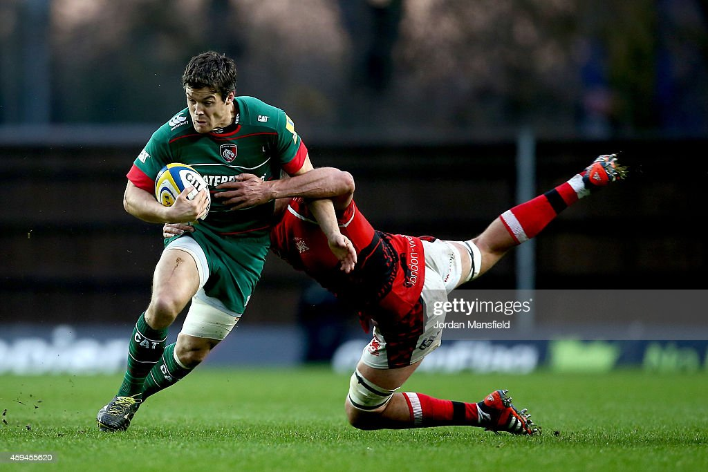 James Down of London Welsh tackles <a gi-track='captionPersonalityLinkClicked' href=/galleries/search?phrase=Anthony+Allen&family=editorial&specificpeople=542876 ng-click='$event.stopPropagation()'>Anthony Allen</a> of Leicester Tigers during the Aviva Premiership match between London Welsh and Leicester Tigers at Kassam Stadium on November 23, 2014 in Oxford, England.