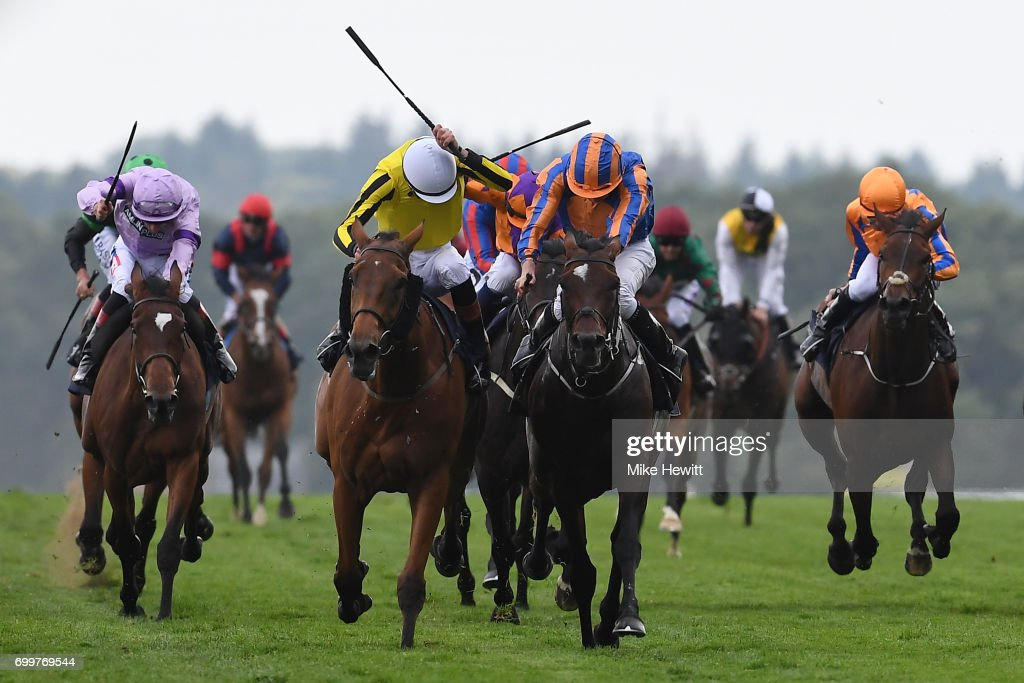 James Doyle and Big Orange (yellow silks) beat Ryan Moore on Order of St George to win the Gold Cup on Day Three of Royal Ascot at Ascot Racecourse on June 22, 2017 in Ascot, England.