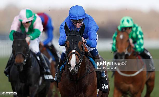James Doyle riding Belardo win The Betway Doncaster Mile Stakes at Doncaster racecourse on April 02 2016 in Doncaster England