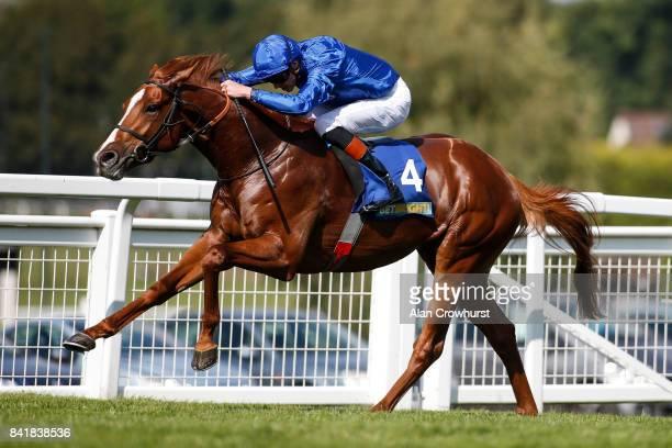 James Doyle riding Masar win The BetBright Solario Stakes at Sandown Park racecourse on September 2 2017 in Esher England