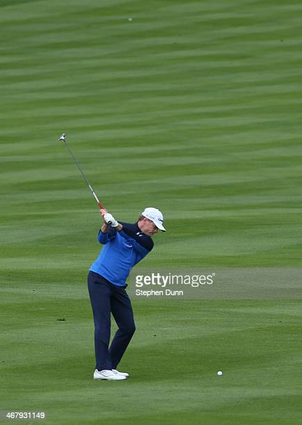 James Driscoll hits a fairway shot on the 14th hole during the third round of the ATT Pebble Beach National ProAm at the Pebble Beach Golf Links on...