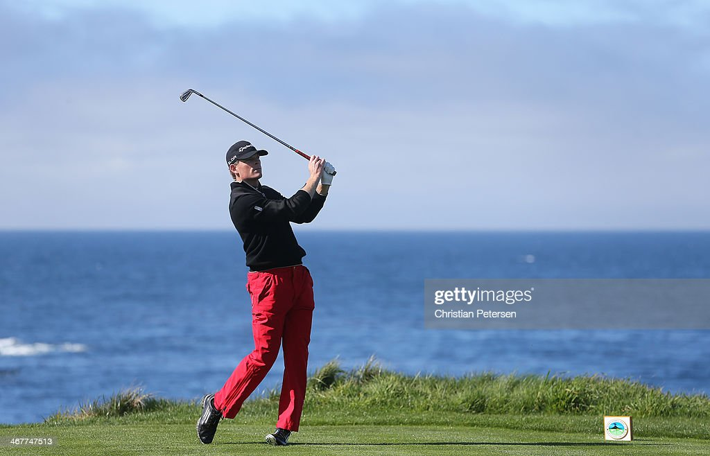 James Driscoll hits a tee shot during the first round of the AT&T Pebble Beach National Pro-Am at Spyglass Hill Golf Course on February 6, 2014 in Pebble Beach, California.