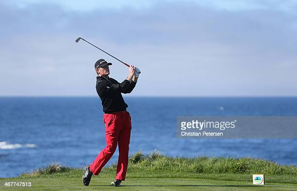 James Driscoll hits a tee shot during the first round of the ATT Pebble Beach National ProAm at Spyglass Hill Golf Course on February 6 2014 in...