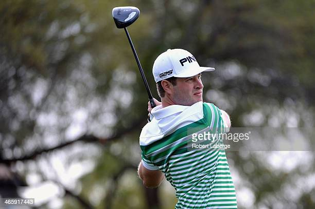 James Driscoll plays a tee shot on the 5th hole during the first round of the Waste Management Phoenix Open at TPC Scottsdale on January 30 2014 in...