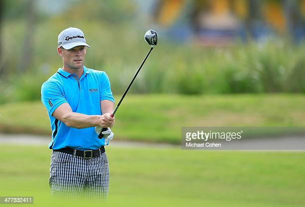 James Driscoll prepares to hit his second shot on the 15th hole during the third round of the Puerto Rico Open presented by seepuertoricocom held at...