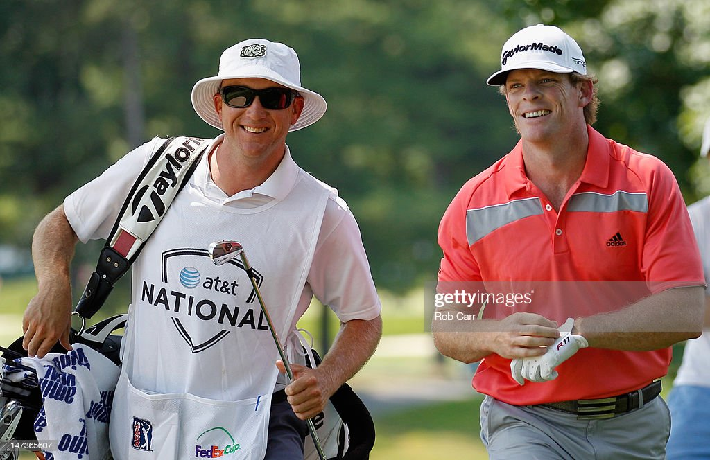 James Driscoll smiles after hitting his second shot on the ninth hole during Round One of the AT&T National at Congressional Country Club on June 28, 2012 in Bethesda, Maryland.