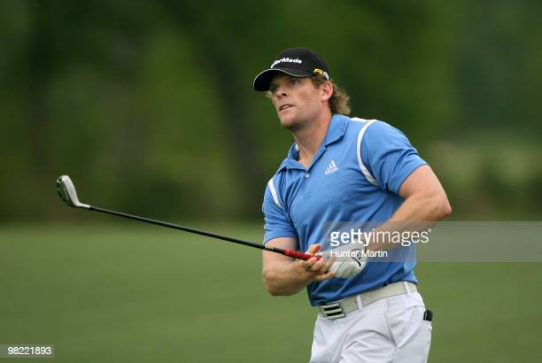 James Driscoll watches his second shot on the eighth hole during the second round of the Shell Houston Open at Redstone Golf Club on April 2 2010 in...