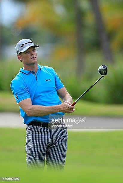 James Driscoll watches his shot during the third round of the Puerto Rico Open presented by seepuertoricocom held at Trump International Golf Club on...
