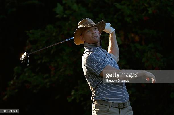 James Driscoll watches his tee shot on the 13th hole during the second round of the Webcom Tour 2016 DAP Championship at the Canterbury Golf Club on...